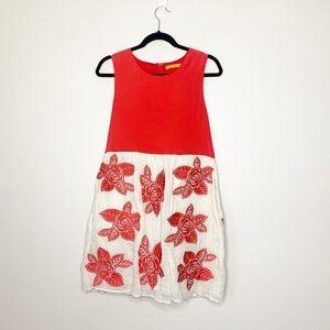 Alice & Olivia Red & cream dress